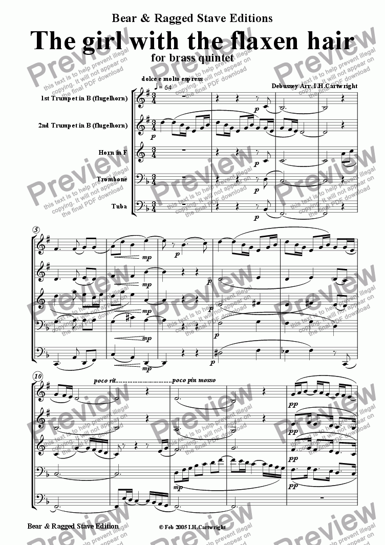 page one of The girl with the flaxen hair for brass quintet