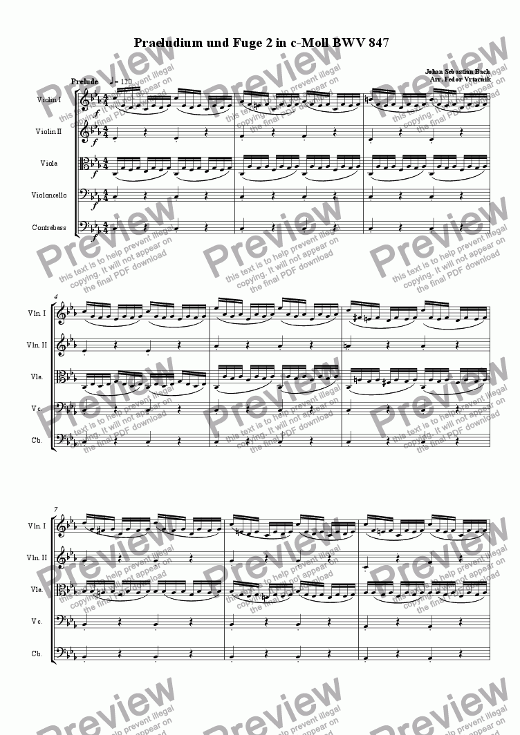 page one of PRAELUDIUM AND FUGE IN C moll for strings