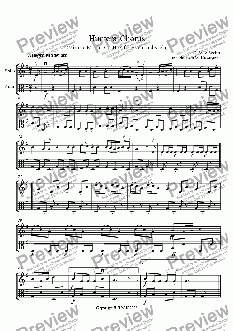 Hunters' Chorus Duet No 4 for Violin and Viola for Large mixed ensemble by  Carl Maria von Weber - Sheet Music PDF file to download