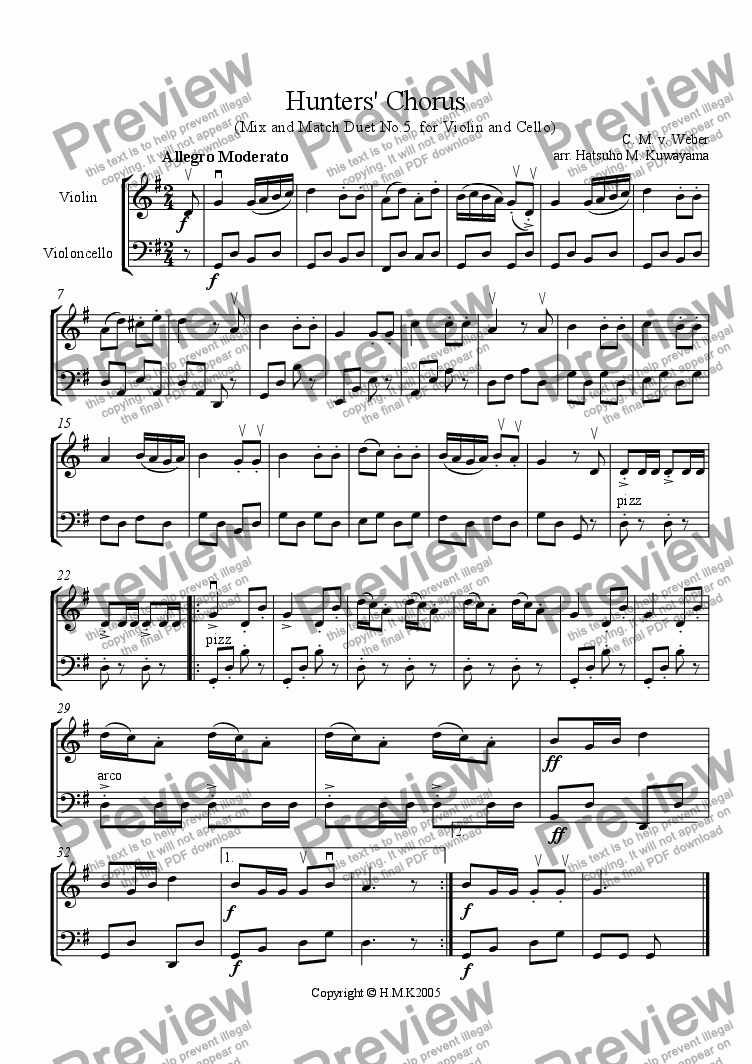 page one of Hunters' Chorus Duet No.5 for Violin and Cello