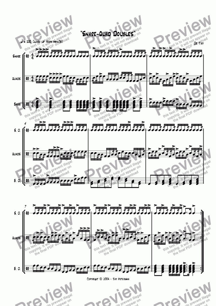 page one of Snare-Quad Doubles [Drumline Drill]