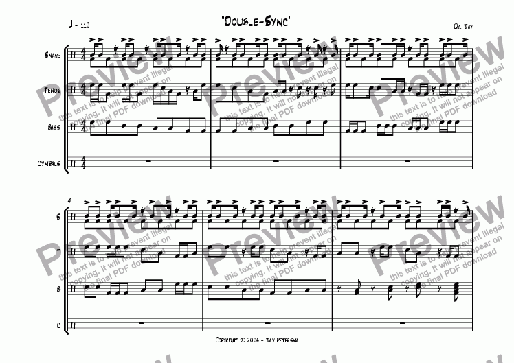 page one of Double Sync [Drumline drill, snare focus]