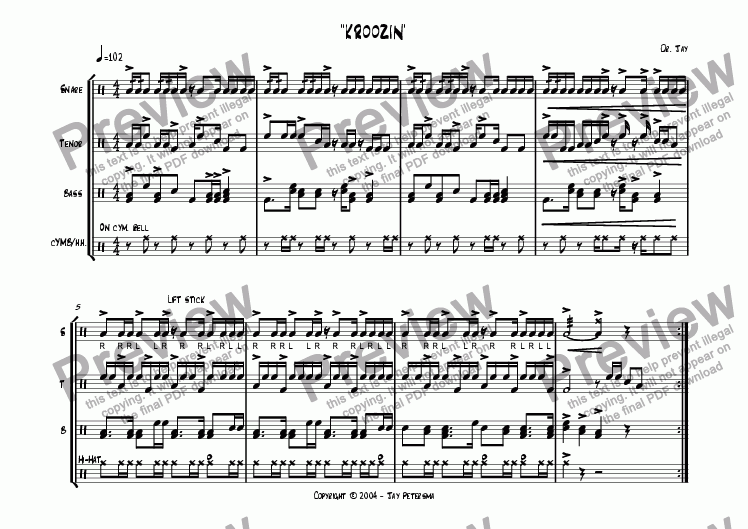 page one of Kroozin'  [Drumline Cadence]ASALTTEXT