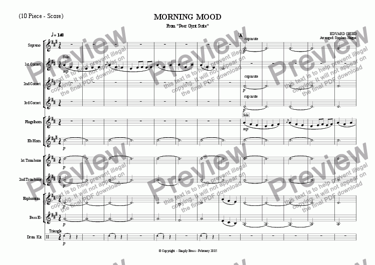 "page one of Morning Mood from ""Peer Gynt Suite"""