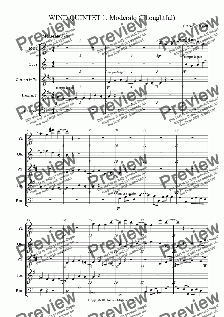 page one of QUINTET FOR WIND INSTRUMENTS 1. Moderato
