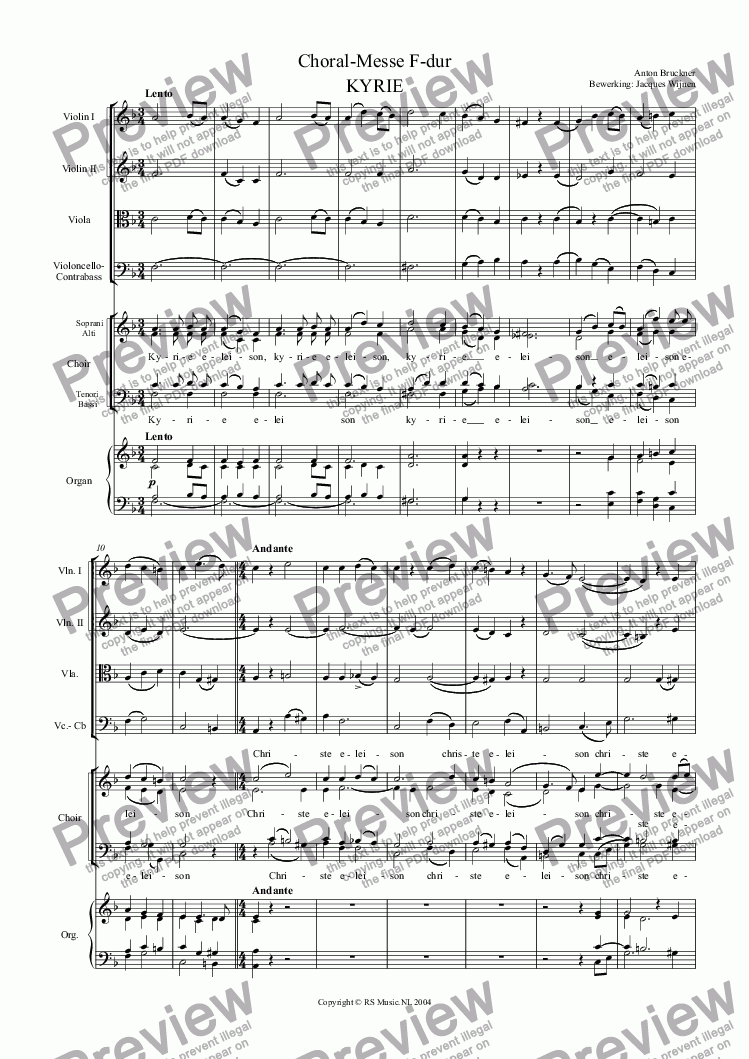 Choral-Messe in F-dur for Choir by Anton Bruckner - Sheet Music PDF file to  download