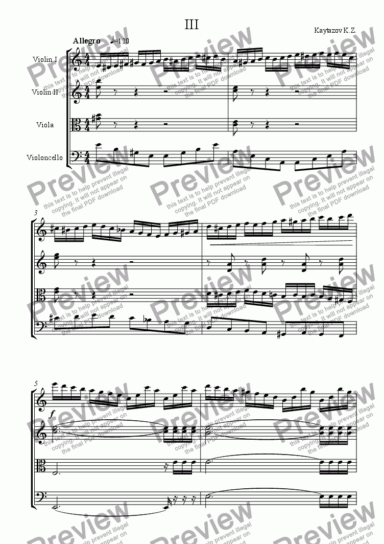 page one of String Quartet in A minor op.1 III Allegro