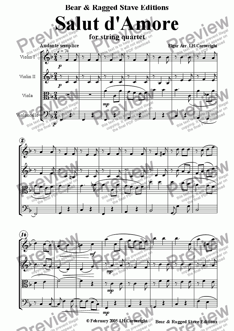 page one of Salut d'Amore for string quartet