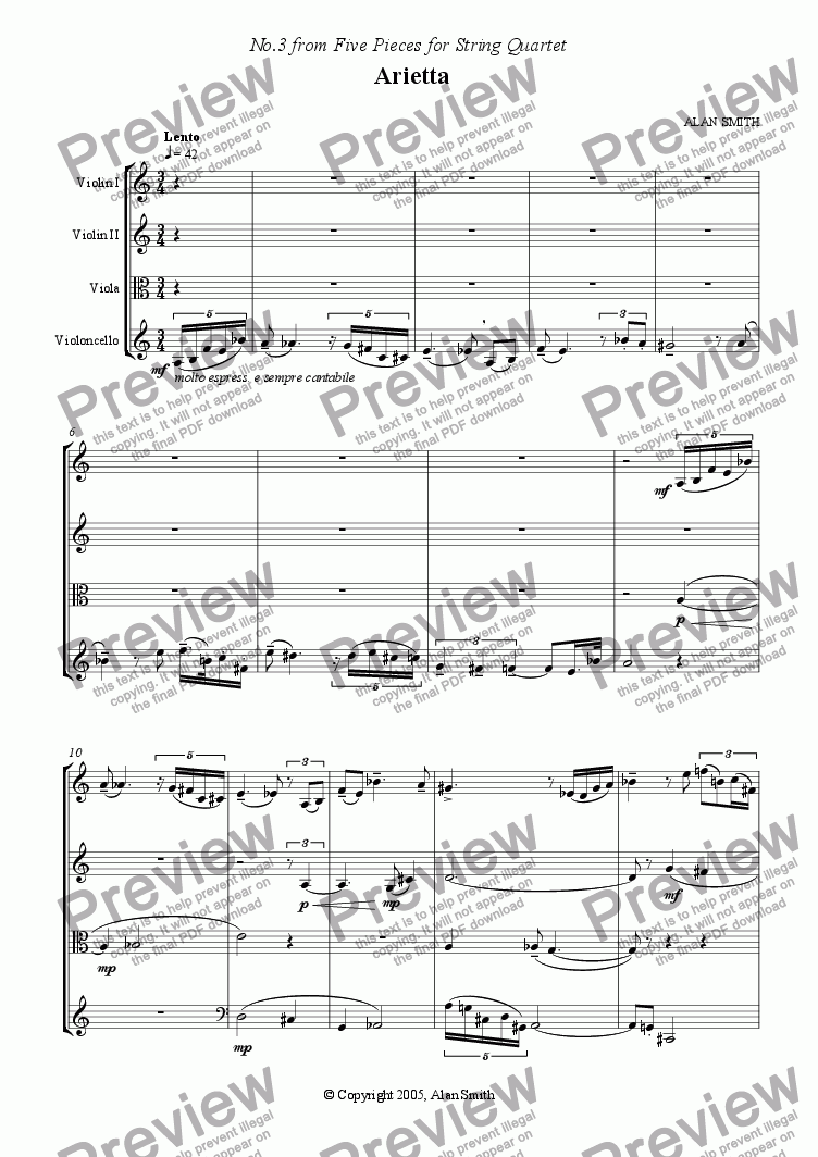 page one of Five Pieces for String Quartet  - No.3 Arietta