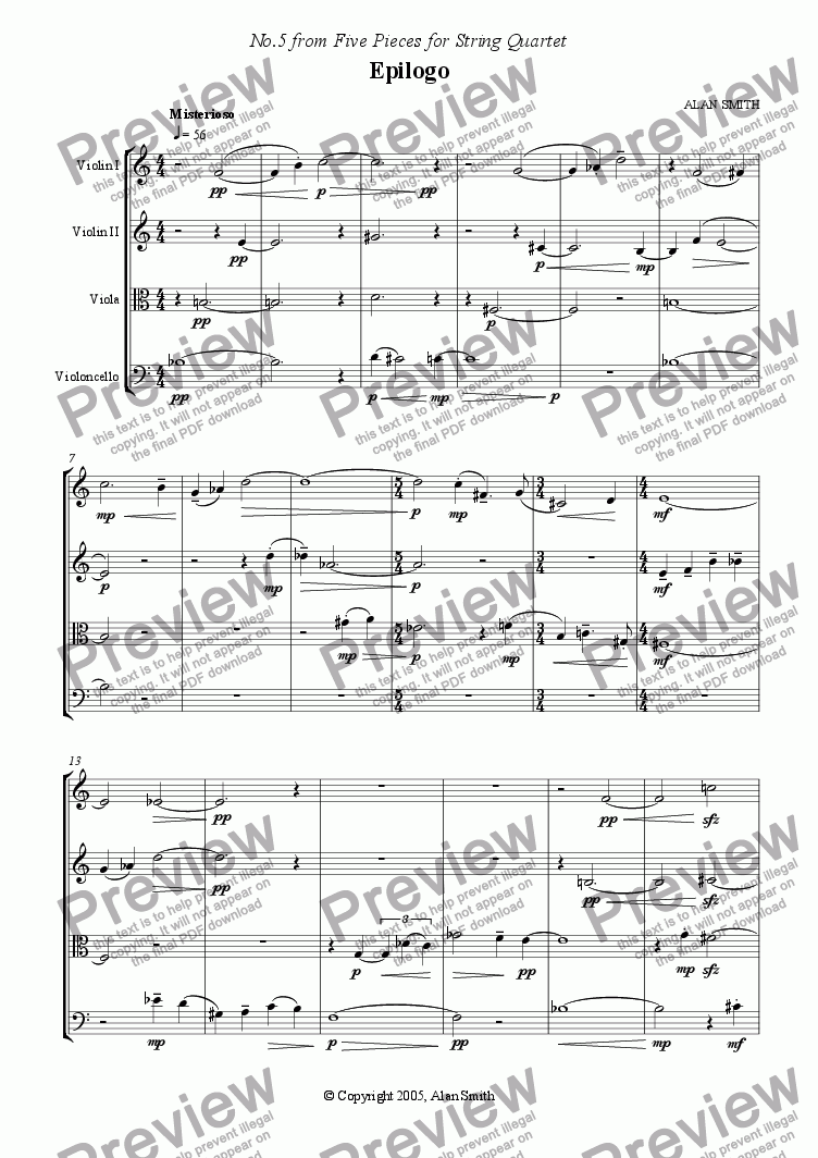 page one of Five Pieces for String Quartet  - No.5 Epilogo