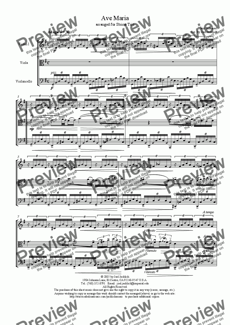 page one of Ave Maria (String Trio w/solo in viola) G
