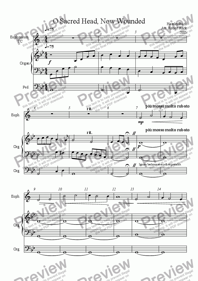 page one of O Sacred Head, Now Wounded (for Solo Euphonium/Trombone/Horn and Organ)