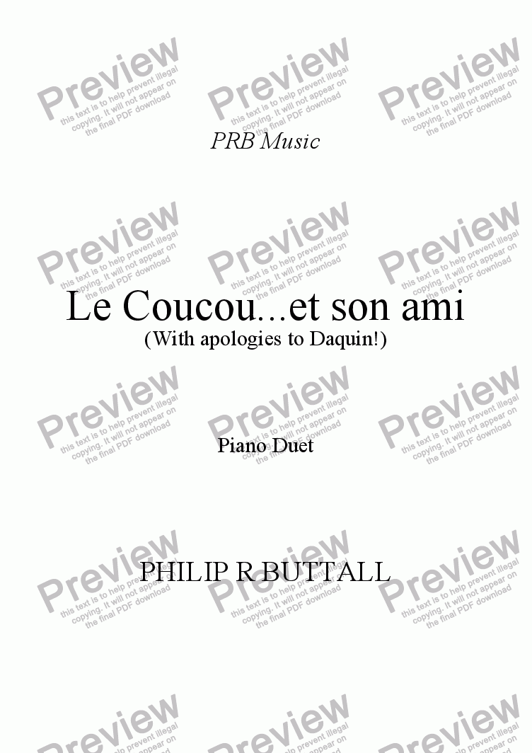 page one of Le Coucou...et son ami