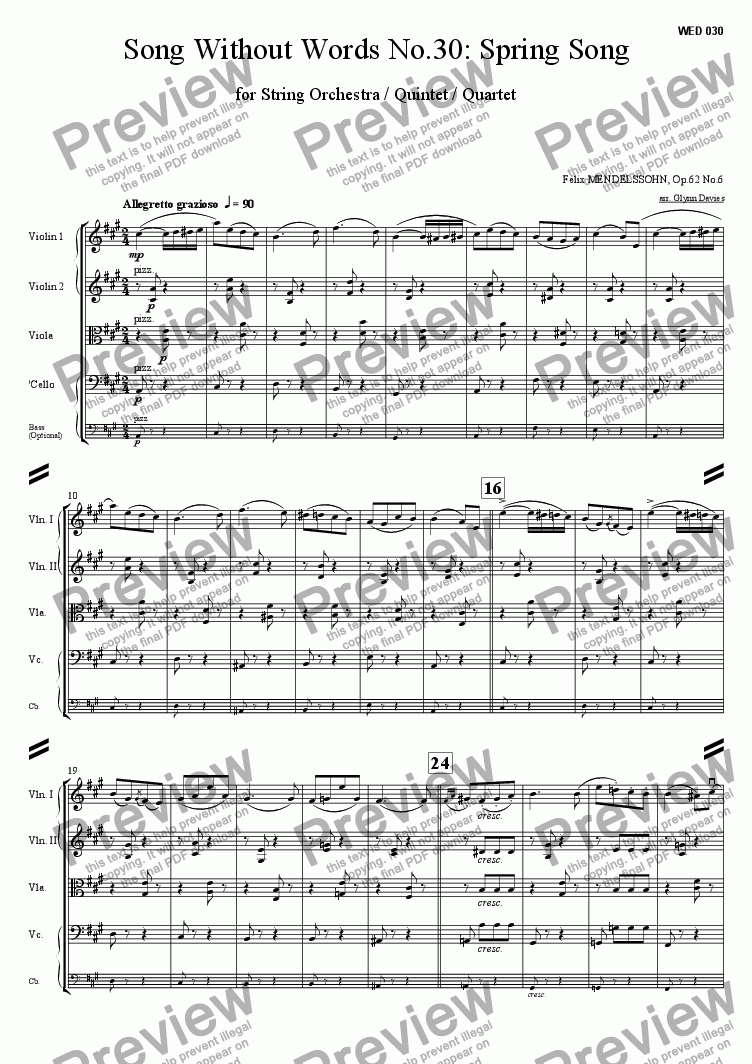 page one of Song Without Words No.30 - Spring Song Op.62 No.6