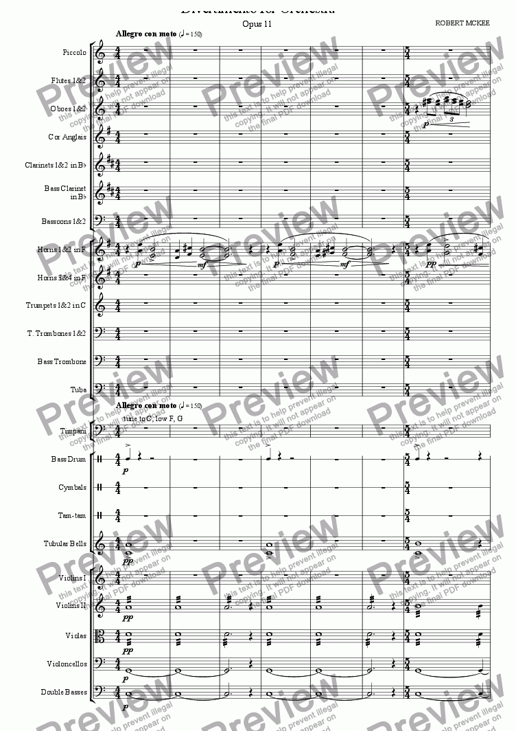 page one of Divertimento for Orchestra