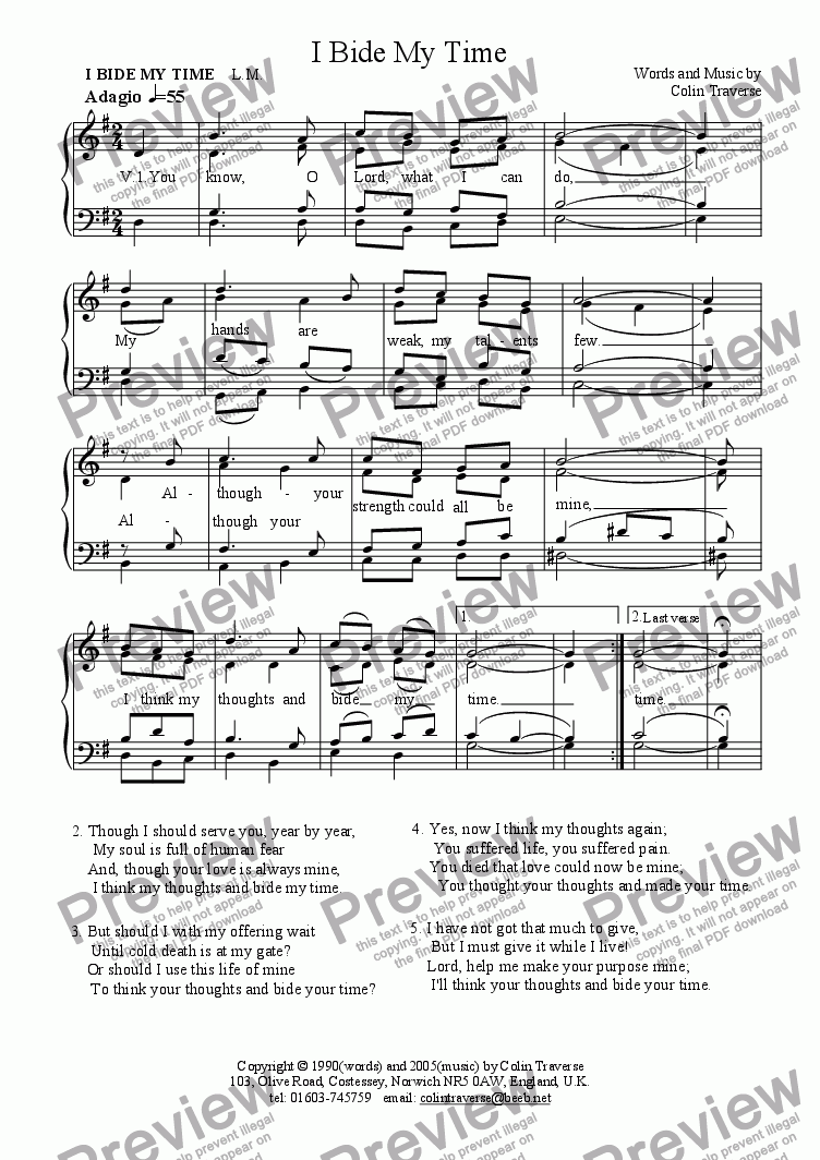 page one of I Bide My Time (Hymn for congregation, Choir or Solo)