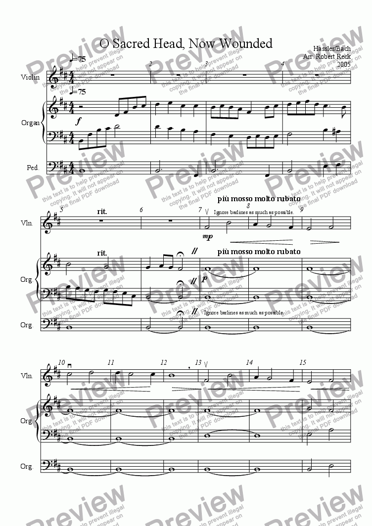 page one of O Sacred Head, Now Wounded (for Solo Violin, Viola, Cello, or Bass and Organ)