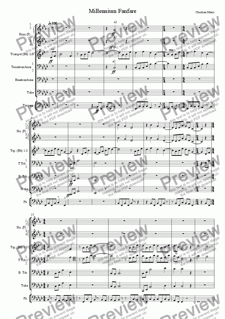 page one of Millennium Fanfare