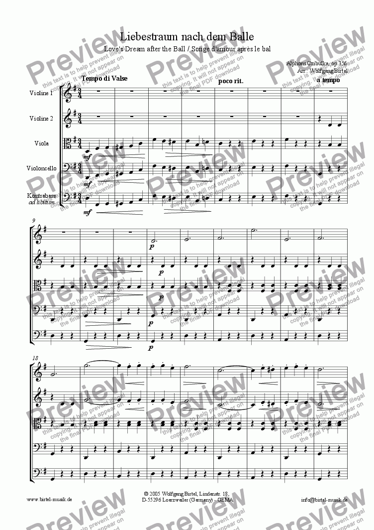 page one of Love's dream after the ball (Liebestraum nach dem Balle / Songe d'amour après le bal) (For Strings)