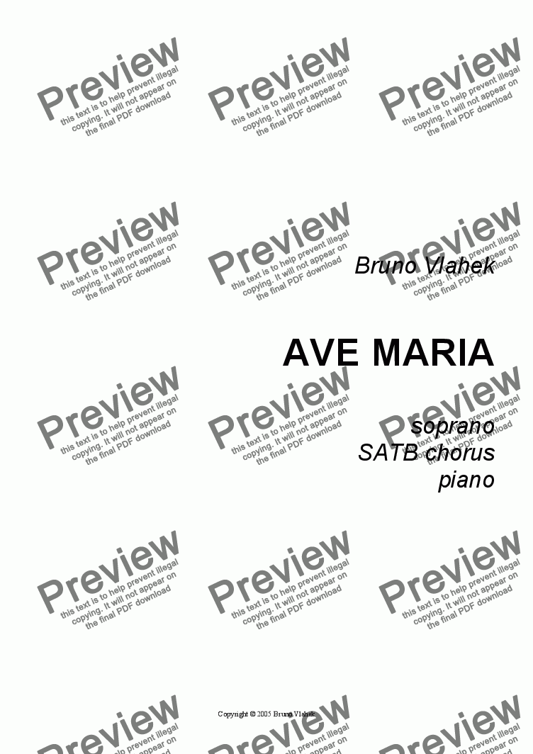 page one of Ave Maria  (arr. for soprano, SATB chorus & piano)