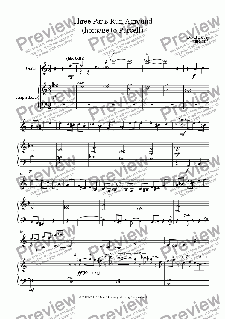 page one of Three Parts Run Aground (Guitar and Harpsichord)