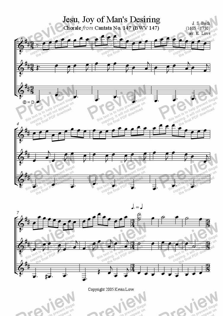 page one of Jesu, Joy of Man's Desiring (Trio)