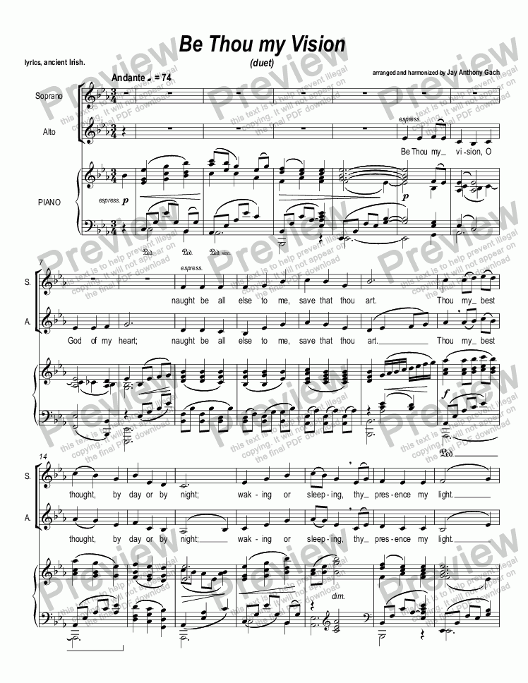 page one of Be Thou My Vision (duet sop/alto + piano)