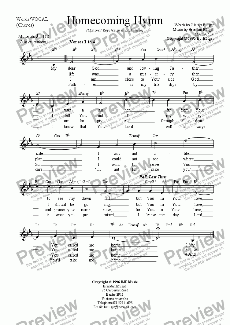 page one of Homecoming Hymn - Vocal Lead sheet