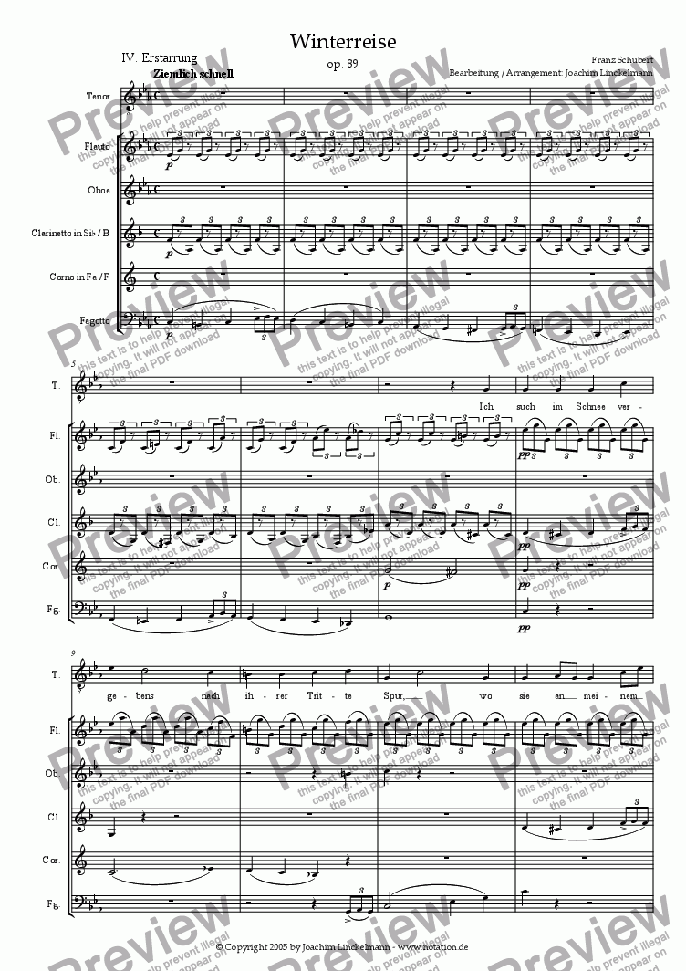 "page one of Schubert's ""Winterreise"" for woodwind quintet and tenor 4. ""Erstarrung"""