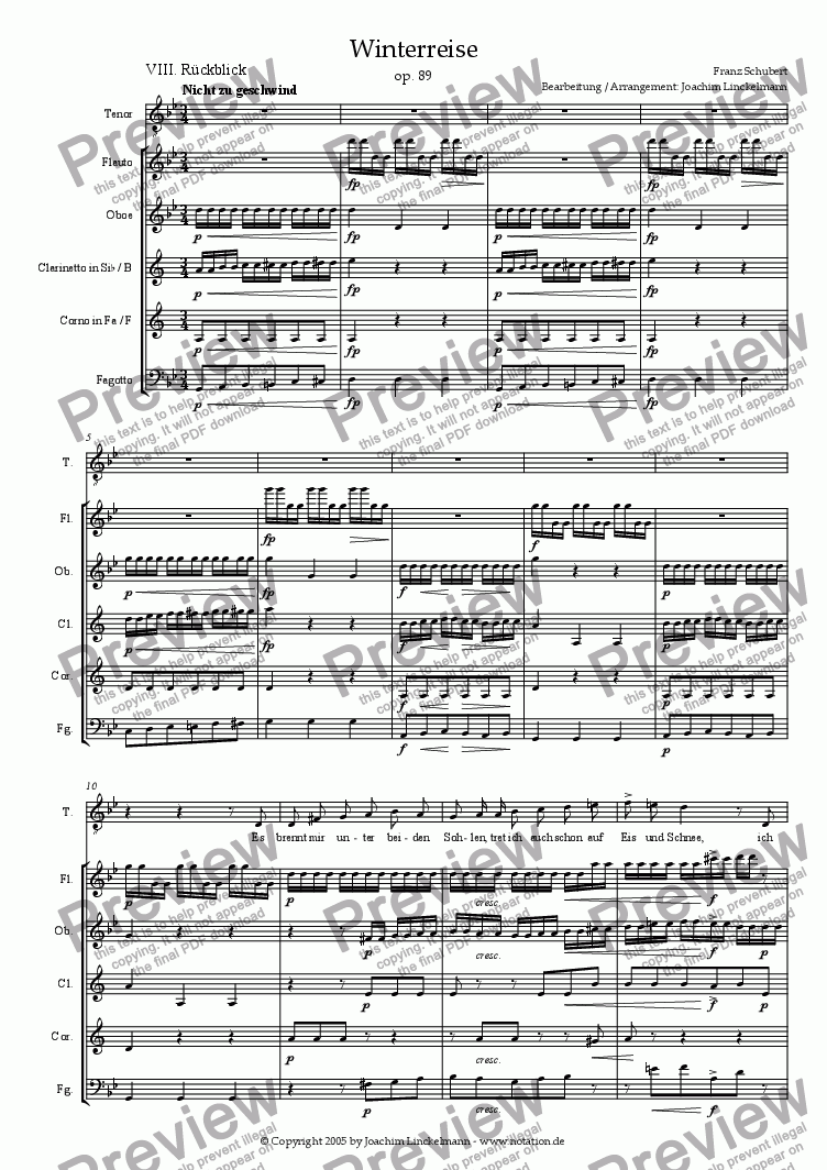 "page one of Schubert's ""Winterreise"" for woodwind quintet and tenor 8. ""Rückblick"""