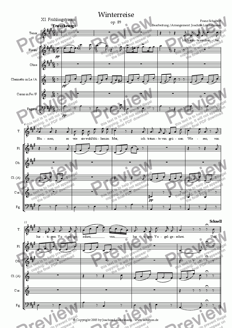 "page one of Schubert's ""Winterreise"" for woodwind quintet and tenor 11. ""Frühlingstraum"""
