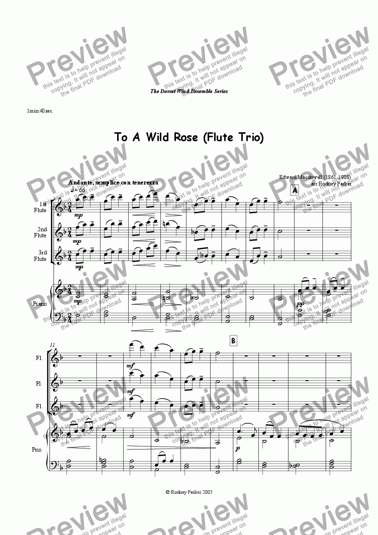 page one of To Wild Rose arr for Flute Trio & Piano