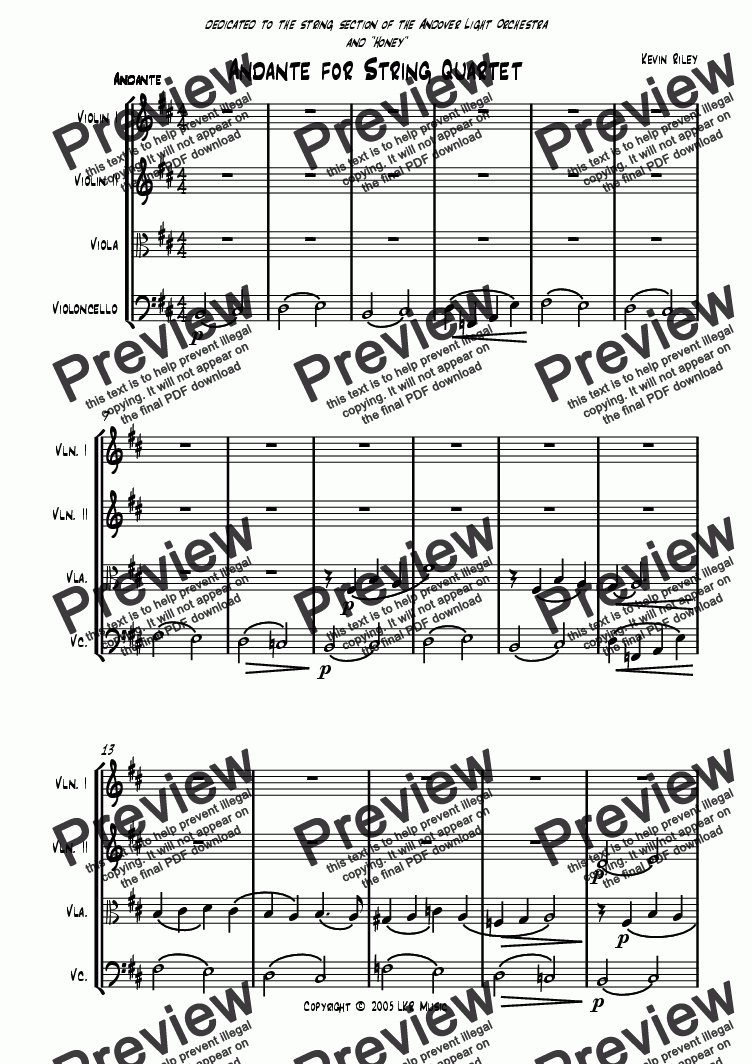 page one of Andante for String Quartet