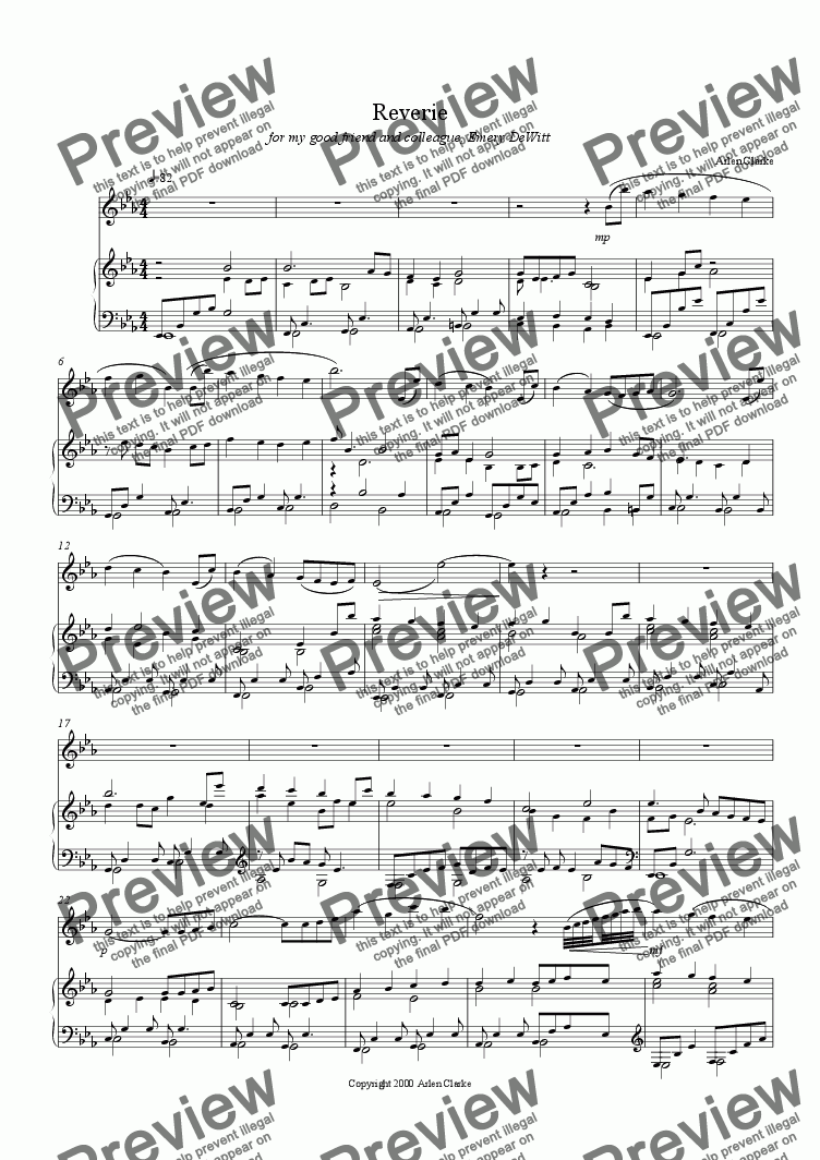 page one of Reverie for Oboe and Piano