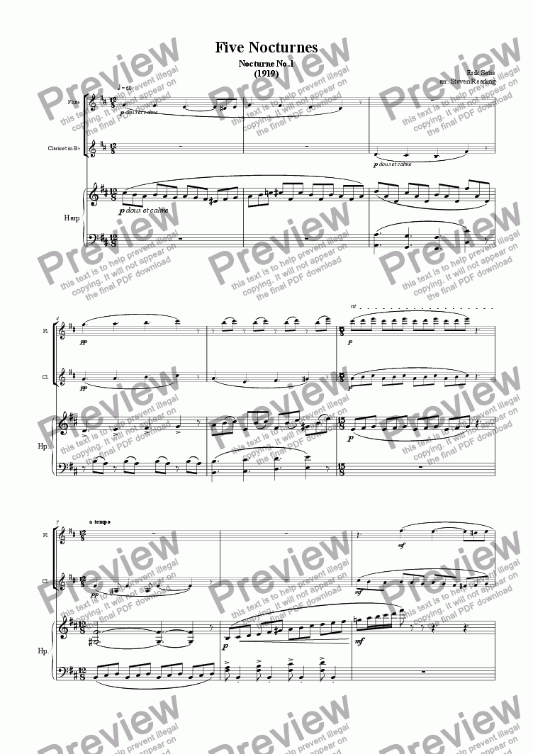 page one of 5 Nocturnes for Flute, Clarinet and Harp