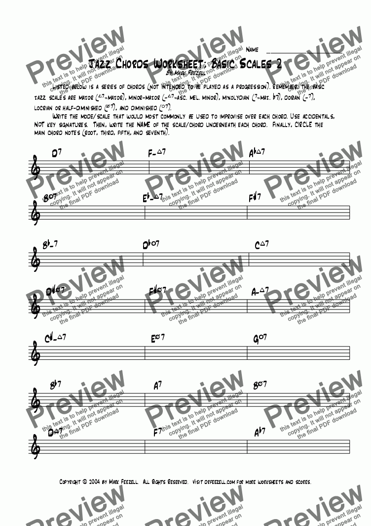 page one of Jazz Basic Scales 2 Worksheet