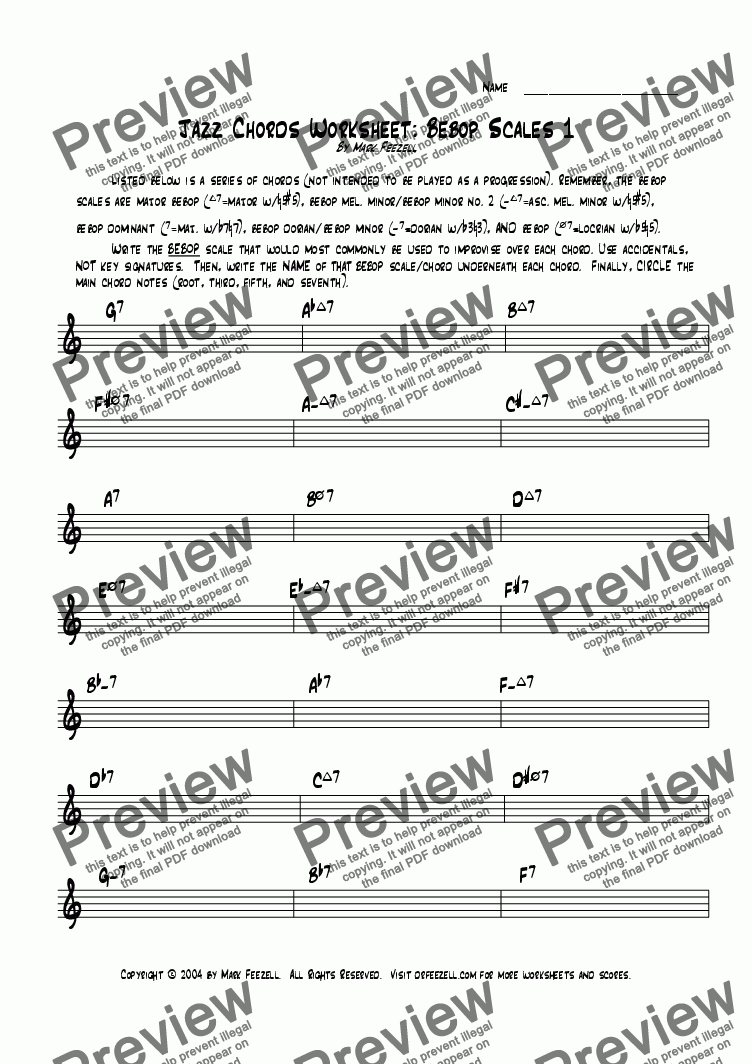 page one of Jazz Bebop Scales 1 Worksheet