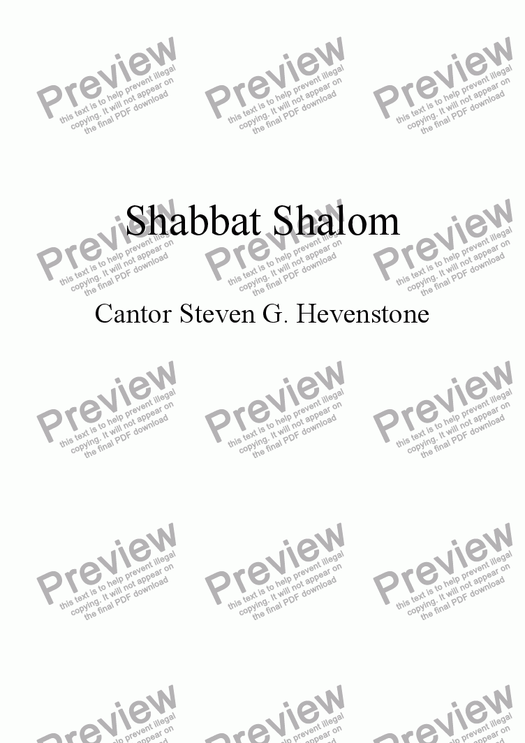 page one of Shabbat Shalom
