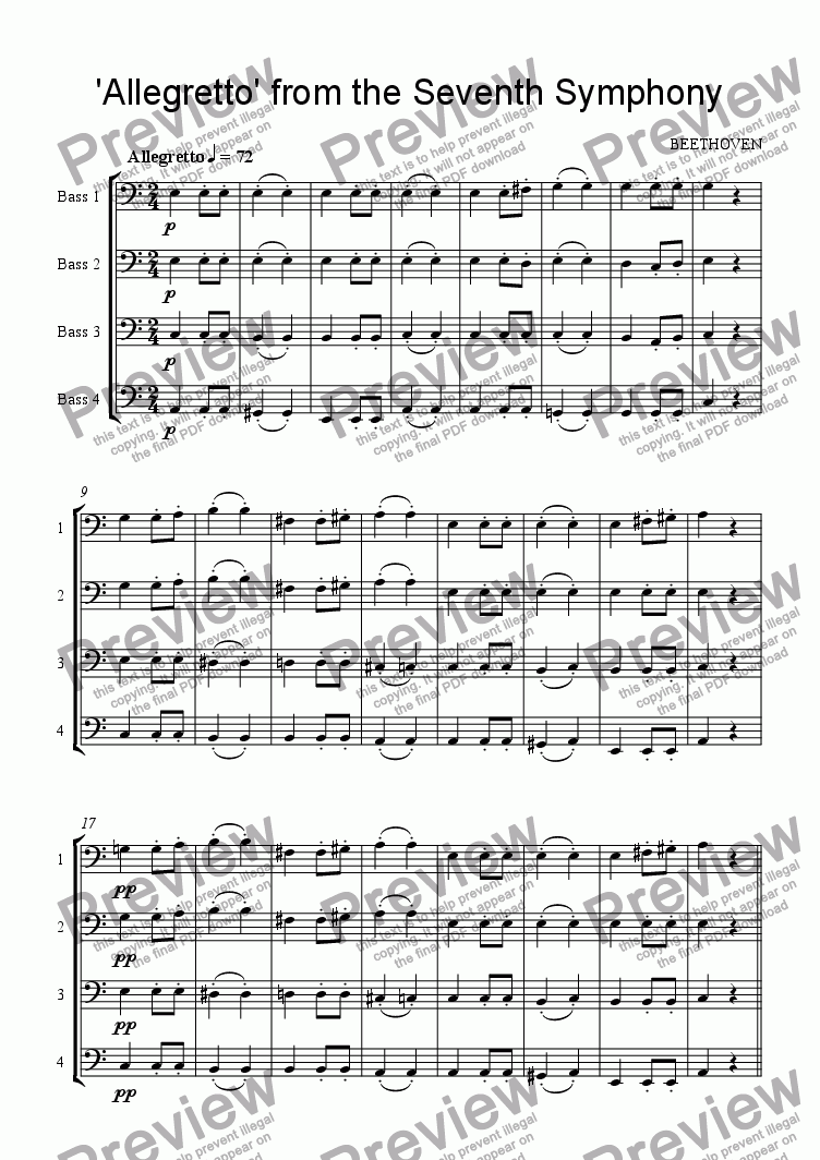 page one of 'Allegretto' from the Seventh Symphony