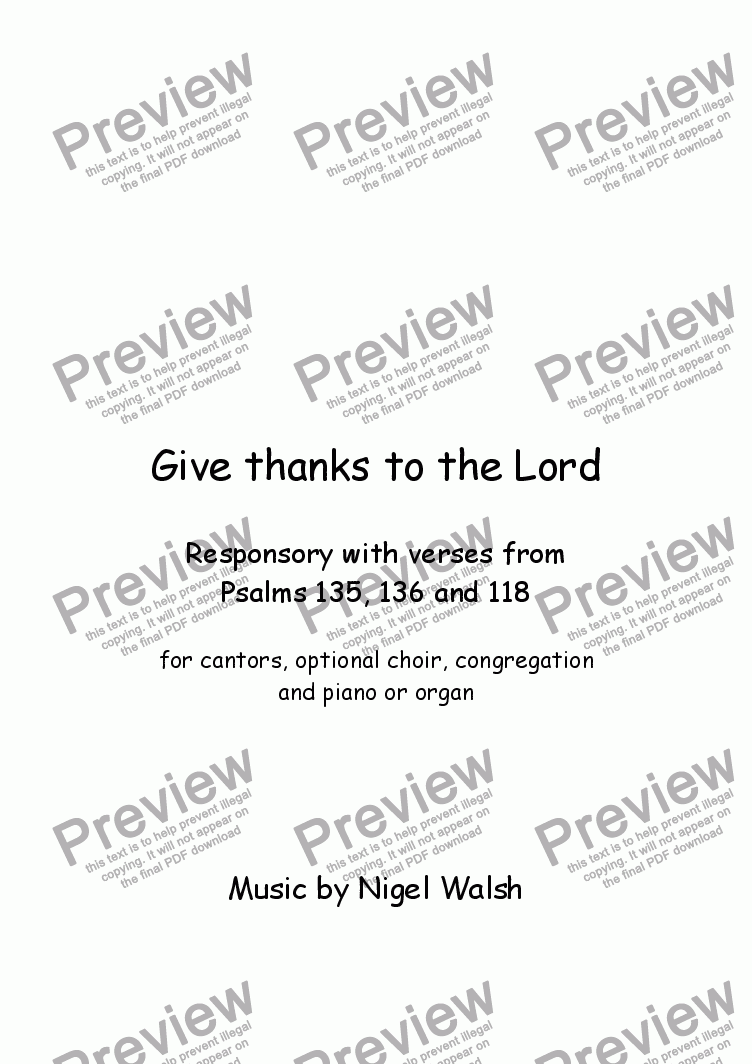 page one of Give thanks to the Lord