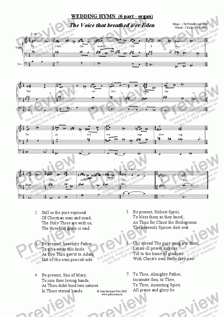 page one of The Voice that breathed o'er Eden (Organ accompaniment) [2000]