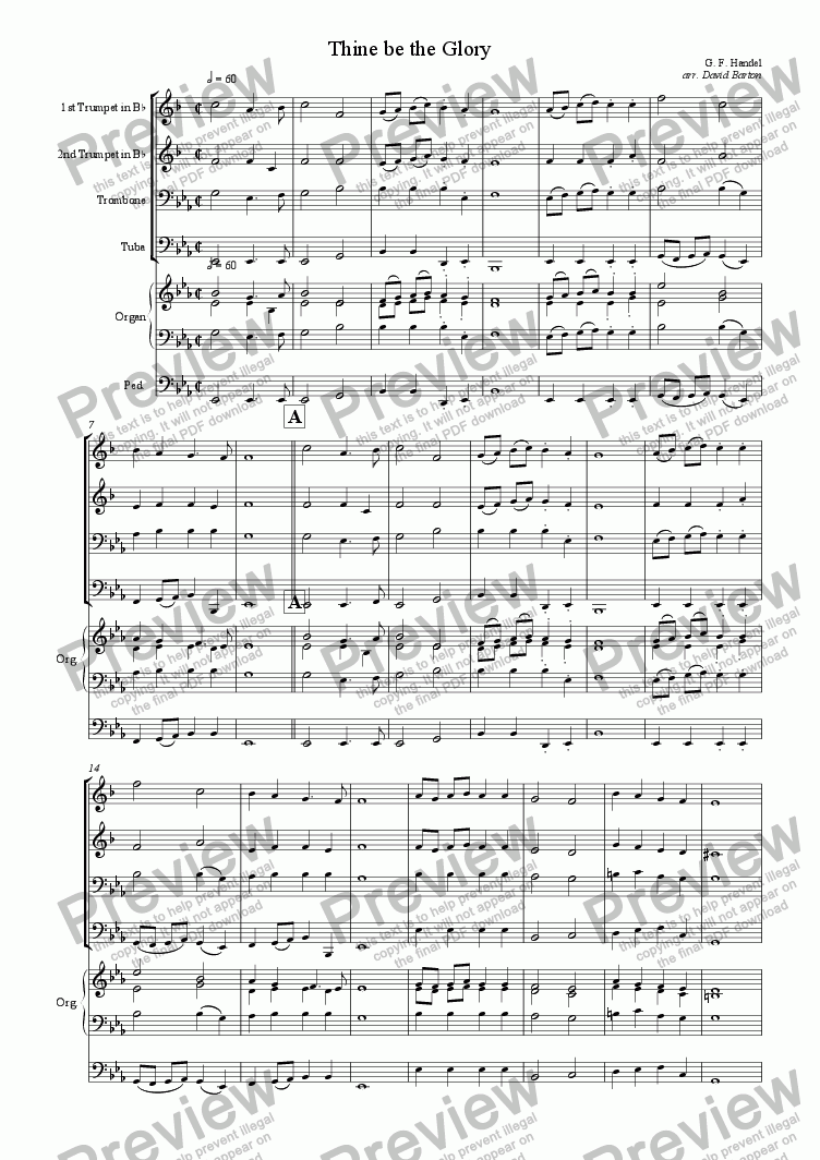 "page one of ""Thine be the Glory"" for Brass Quartet and Organ"