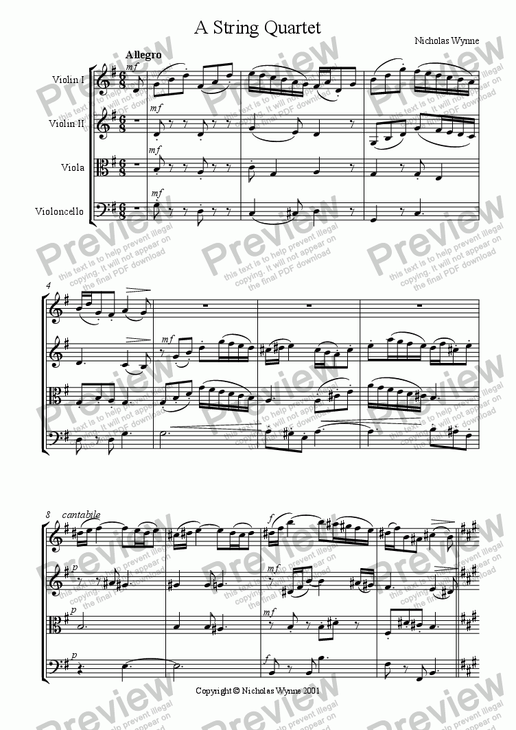 page one of A String Quartet