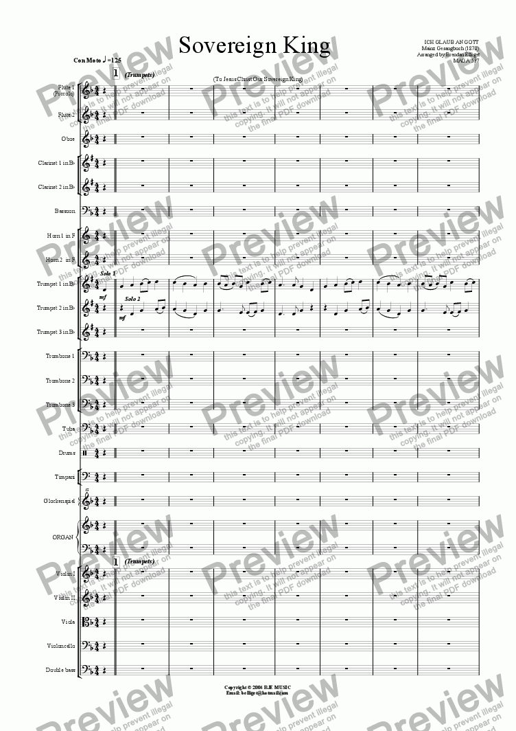 page one of Sovereign King (To Jesus Christ Our Sovereign King) - 2 Trumpets and Orchestra
