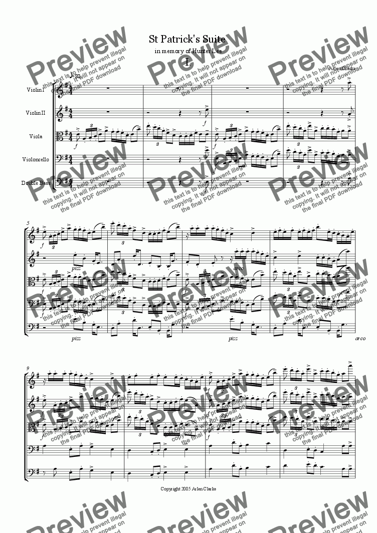 page one of St Patrick's Suite for Strings