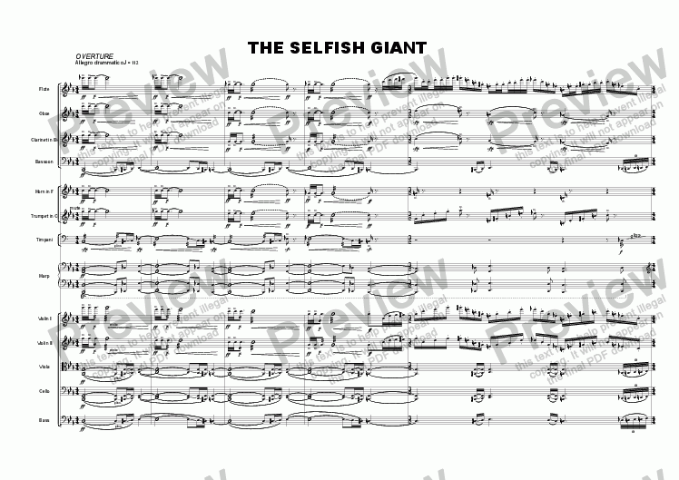 page one of The Selfish Giant (musical for childrens choir, actors & ch. orch.)
