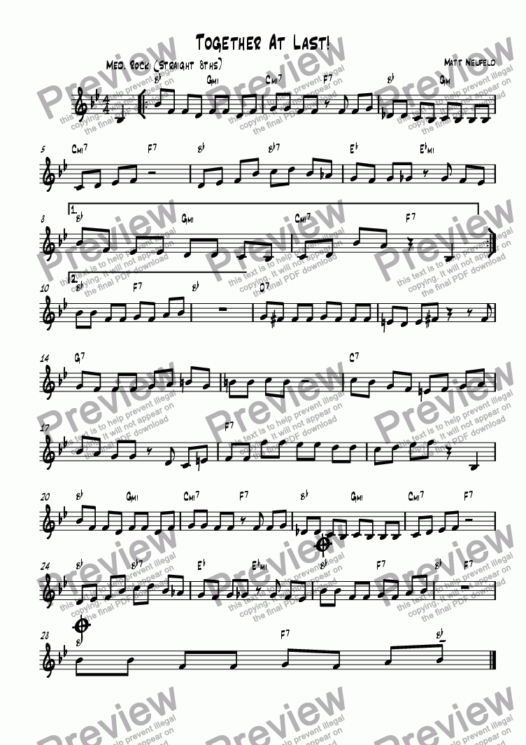 page one of Together At Last Lead Sheet