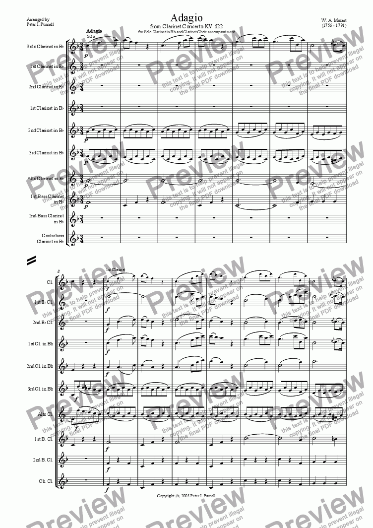 page one of Adagio from Clarinet Concerto KV622 for Solo Clarinet in Bb