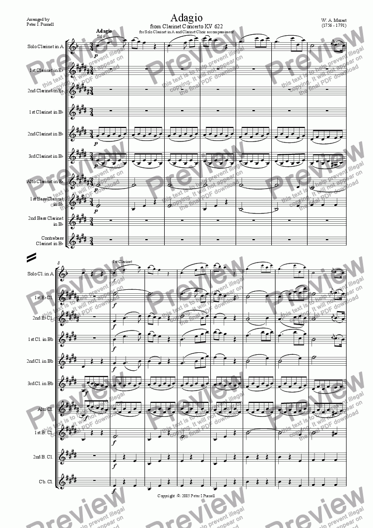 Adagio from Clarinet Concerto KV622 for Solo Clarinet in A for Clarinet  choir by W  A  Mozart - Sheet Music PDF file to download