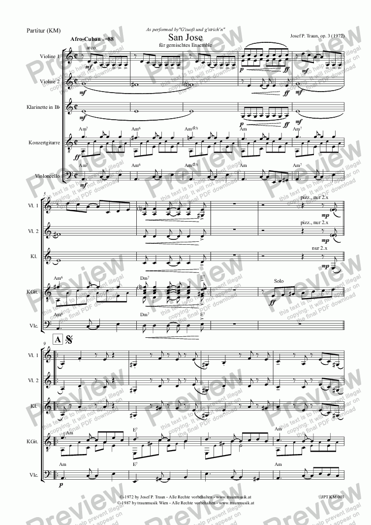 page one of San Jose (KM/Score & Parts)